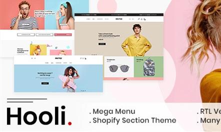 Hooli  简洁 时尚 青春 服饰 Shopify主题